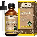 Aceite de jojoba orgánico 100% puro Aroma King - Natural sin refinar, utilizado para hidratar la cara, cabello, piel, uñas, cutículas, estrías y piel sensible 4 Fl Oz. (120 ml)