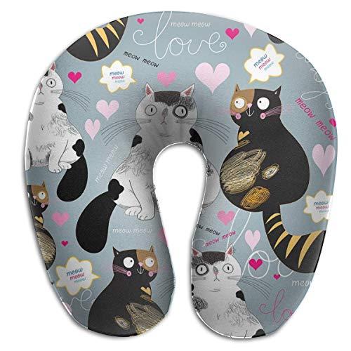 Almohada para el Cuello Patrón Brillante Gatos Enamorados Almohada de Viaje en Forma de U Diseño ergonómico Contorneado Funda Lavable