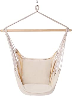 POPCLEAR Hammock Chair Hanging Rope Swing, 330 Pound Capacity, Hanging Chair with Cotton Rope for Indoor, Outdoor, Home, Patio, Deck, Yard, Garden,2 Seat Cushions Included with Hanging Kit (Beige)