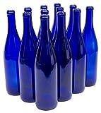 North Mountain Supply 750ml Glass California Hock Wine Bottle Flat-Bottomed Cork Finish - Case of 12 (750ml Cobalt Blue)