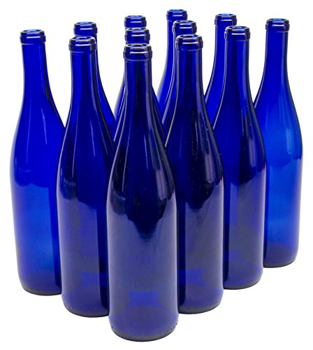 North Mountain Supply 750ml Glass California Hock Wine Bottle Flat-Bottomed Cork Finish - Case of 12 (750ml Cobalt Blue)