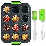 Muffinform Silikon für 12 Stück Die Muffin-Antihaft-Muffinform Wird Brotbackform Silikon für Mini-Pfannen für Kuchen, Brownies, Kuchen und Pudding verwendet
