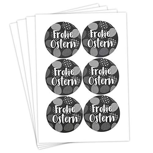 Papierdrachen 24 Oster Aufkleber zum Basteln und Dekorieren - Motiv Frohe Ostern mit Eiermotiv schwarz-weiß - Sticker Nr 50 - Ostern 2021