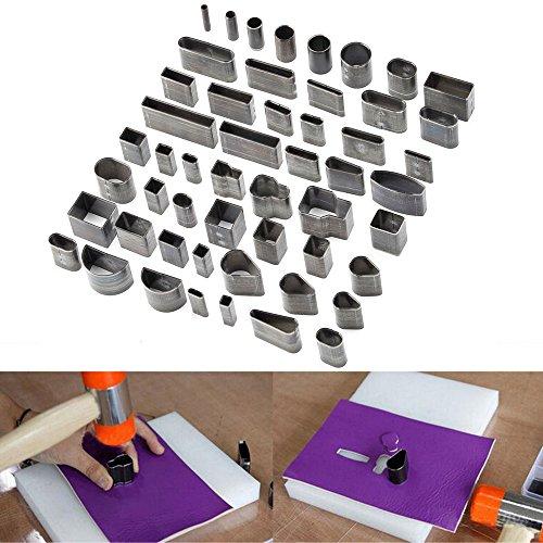 ele ELEOPTION 52-teiliges Lederhandwerk-Set mit einem Loch-Hohlstanzer für DIY-Lederhandwerk