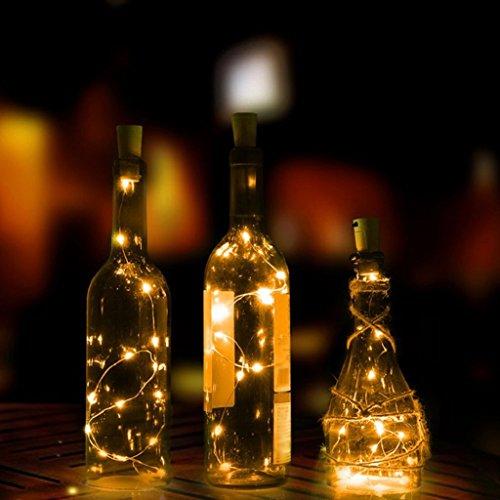 AAA226 Guirlande lumineuse à 15/20 LED pour bouteille de vin avec bouchon en liège - 2 m (blanc chaud)