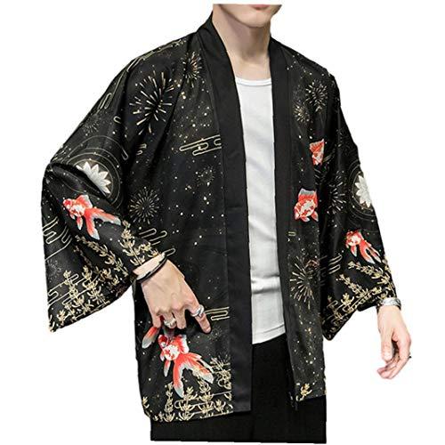 LAANCOO Chino Dragón Traditionald Hanfu Traje del Kimono Hombres Cardigan Cardigan Haori Samurai Karate Streetwear Camisa Japones Yukata Cubierta de Primavera y Verano al Aire Libre Clothes3XL