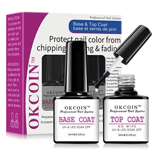 of nail base coats OKCOIN Gel Base and Top Coat, No Wipe Gel Top Coat Base Coat Set Soak Off UV/LED Cured Base Top Gel Nail Polish New Upgraded Formula Long-Lasting Gloss ( 2 x 10ml )