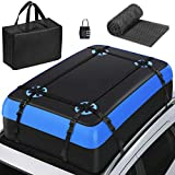 Tukuos Car Roof Bag Cargo Carrier,15 Cubic Feet Heavy Duty Rooftop Cargo Carrier with Anti-Slip Mat,Waterproof Bag,4 Lengthen Reinforced Straps,4 Door Hooks Suitable for All Vehicle with/Without Rack