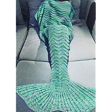 Auchen Mermaid Tail Blanket for Adults Women Girls Teens, Handmade Crochet Mermaid Blankets, Soft Birthday Valentine's gift 74''x35'' Mint Green