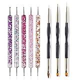 Herramientas de manicura 8 PCS Nail Art Cepillo Diseño Tip Pintura Dibujo Dibujo Talla Pen Constructor Flat Fan Liner Acrylic Gel UV Polaco Herramienta Manicura Decoración de uñas de bricolaje