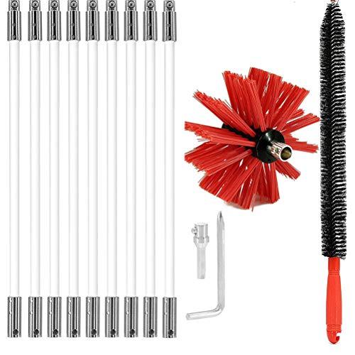 TiKiNi Cepillo de chimenea, cepillos de chimenea y varillas para el barrido de humos, kit de limpieza de chimenea, accesorio de herramienta de limpieza de nylon