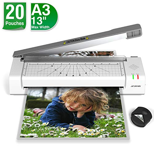 Laminating Machine, JZBRAIN Laminator Machine for A3 A4, Included 20 Laminating Sheets, Paper Cutter and Corner Rounder for Home Office School Teachers Use, Laminate up to 13 inches Wide, Gray