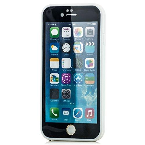 Saxonia Waterproof Schutzhülle kompatibel mit Apple iPhone 6 / iPhone 6S Hülle Silikon Slim Case Schwarz/Weiß