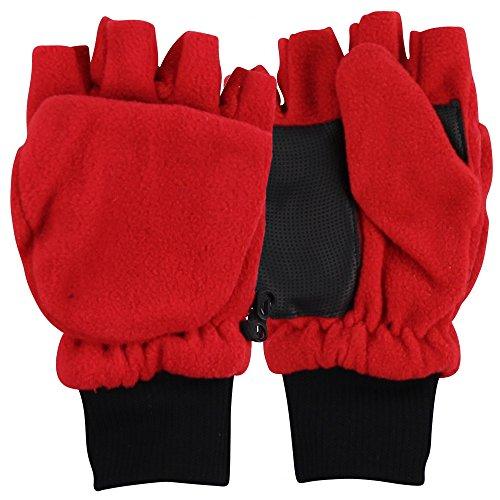 Boy's Sport Fleece Fingerless Gloves / Convertible Mittens-Red (Size 8 to 16)