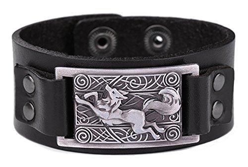Vintage Nordic Fenrir lobo celta nudo Metal Cuff pulsera espiritual Animal joyas para...