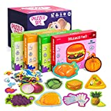 Jigsaw Puzzles for Kids Ages 4-8,Toddler Puzzles,Preschool Educational Learning Toys Puzzles,4 Series Food Puzzles in Individual Boxes