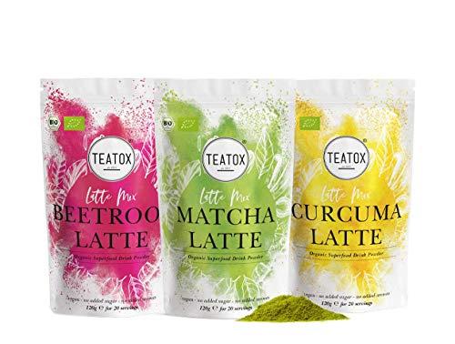 Teatox Latte Mix Matcha, Curcuma & Beetroot   Matcha Latte, Rote Beete Latte & Kurkuma Latte   3x Premium Getränkepulver für Smoothies oder Latte   Superfood ohne Zuckerzusatz   Bio & Vegan