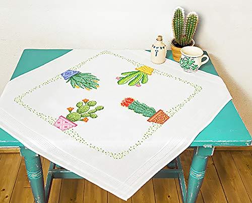 KAMACA - Kit per Ricamo a Punto Croce, Motivo Cactus, 80 x 80 cm, in Cotone
