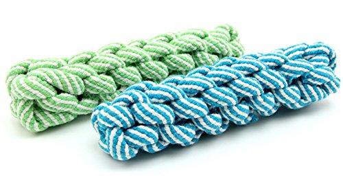 Pentaton Hundespielzeug Kauspielzeug Spielseil Spieltau für Hunde Baumwollraupe Baumwollknochen Wurfspielzeug aus Baumwolle, geflochten, zur Zahnreinigung (blau)