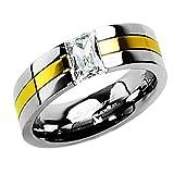 Piersando Titan Ring Partnerring Ehering Bandring Trauring Gold plattiert Silber mit Zirkonia Stein für Damen Herren Größe 67 (21.3)