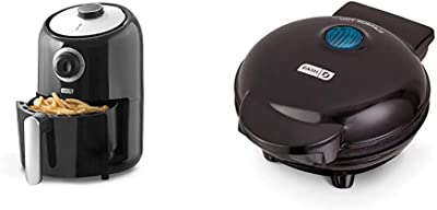 Dash DCAF150GBBK02 Compact Air Fryer Oven Cooker, Black & Mini Maker: The Mini Waffle Maker Machine for Individual Waffles, Paninis, Hash browns, & other on the go Breakfast, Lunch, or Snacks - Black