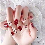 uñas postizas 24 unids/set uñas cortas r Uñas postizas Pre Diseño Decoraciones de manicura Gils Uñas postizas rojas lindas con