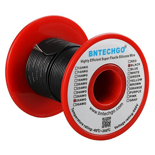 BNTECHGO 28 Gauge Silicone wire spool 50 ft Black Flexible 28 AWG Stranded Tinned Copper Wire