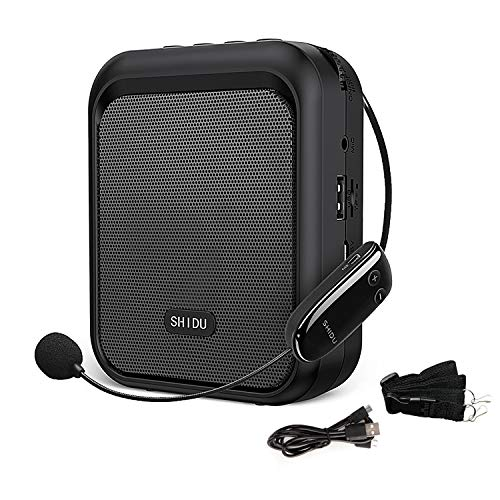 SHIDU Mini Voice Amplifier Portable Bluetooth Speaker with UHF Wireless Microphone Headset 10W 1800mAh PA system Supports MP3 Format Audio for Teachers, Taxi Drivers, Coaches, Training, Tour Guide