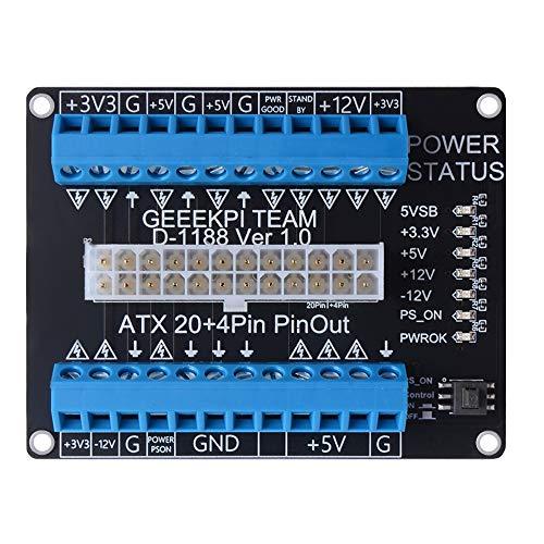 GeeekPi 24/20-pin ATX DC Power Supply Breakout Board Module Adapter, Terminal Block Breakout Module for Computer PC