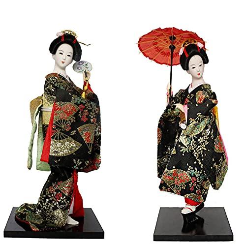 KJWXSGMM Japonés Geisha Kimono Muñeca Asiática Kabuki Oriental Coleccionable Geisha Figurine Decoración del hogar Regalo, 2 Piezas,A