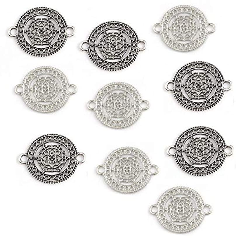 Mandala Flower Chakra Connectors, 10 pc (5 of Each) Silver Tone Findings