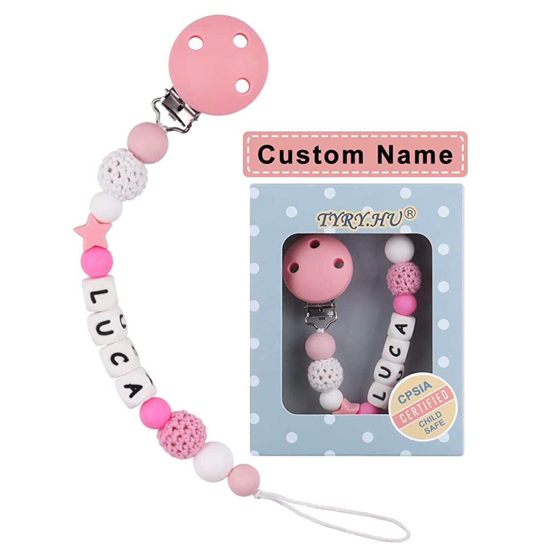 Personalized Pacifier Clips, TYRY.HU BPA Free Silicone Teething Beads Binky Teether Holder for Baby Girl Name Shower Gift(Pink)