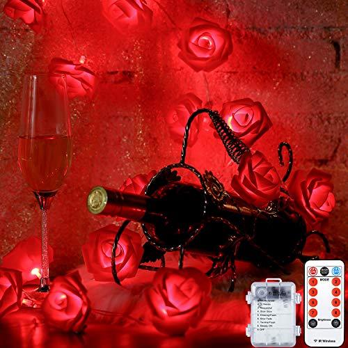 Guirnalda de Luces de Rosas de Día de San Valentín 6,5 Pies 20 LEDs en Flor Funcionados con Batería con 8 Modos, Control Remoto y Temporizador para Boda Cumpleaños (Rosa Roja)