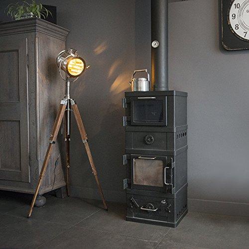 QAZQA Design/Industriel/Moderne Lampadaire/Lampe de sol/Lampe sur Pied/Luminaire/Lumiere/Éclairage Tripod Radiant bois et chrome verre/Métal Chrome,Marron Rond/Autres/intérieur