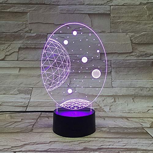 Bunte dreidimensionale Universum Galaxy 3D Tischlampe Illusion LED-Lampe mehrfarbig verblassen Urlaub Kinderspielzeug Weihnachten | Halloween-Geschenk buntes Nachtlicht mehrfarbig