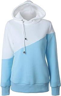 Blue & White Round Neck Hoodie & Sweatshirt For Women