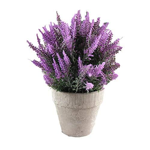 WUHUAROU Pflanze Künstliche Kunstliche Pflanzen Mini Kunstpflanzen Gefälschte Künstliche wie Echt Lavendel Blumen Pflanze Kleine mit Topf für Balkon Deko Balkon Garten Tischdeko Geschenk