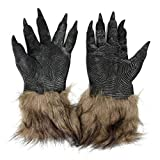 sahnah Halloween Werewolf Gloves Latex Furry Animal Gloves Wolf Claws Halloween Prop Horror Devil Party Club Supplies Creepy Gloves