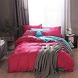 JUNDY Bettbezug Bettwäsche Set - Bettbezug und Kissenbezug, Bettlaken, dreiteiliger, Vierteiliges Bettwäsche Einfarbiges Bettwäscheset aus Vier Baumwollfarben12 Größe1