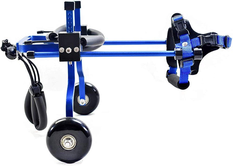 Adjusting pet wheelchair Adjust dog pet wheelchair hind leg repair   2 wheel dog cart pet rehabilitation training car (color   bluee, Size   XS)