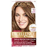L'Oreal Paris Excellence Creme Permanent Hair Color 100 percent Gray Coverage Hair Dye Pack of, 6G Light Golden Brown, 1 Count