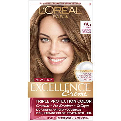 L'Oreal Paris Excellence Creme Permanent Hair Color, 6G Light Golden Brown, 100% Gray Coverage Hair Dye, Pack of 1