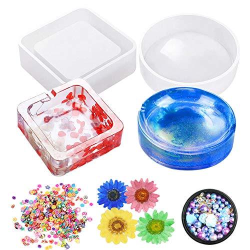 Jatidne Moldes de resina epoxi moldes para cenicero de resina fundida de silicona con cuentas de flores secas para decoración de manualidades