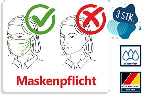 3 Stück Hinweis Aufkleber | Maskenpflicht! - mit Piktogramm | PVC Warnhinweis UV-beständig und wasserfest | 20 x 17 cm | für Außen und Innen geeignet | Corona Warnschild
