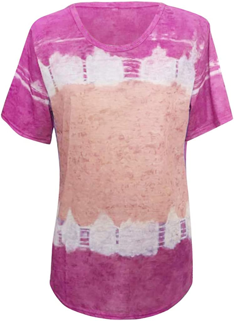 AODONG T-Shirts for Women,Womens Summer Casual Tops Tie Dye Gradient T-Shirts O-Neck Short Sleeve Blouse Tops Tunic Tees