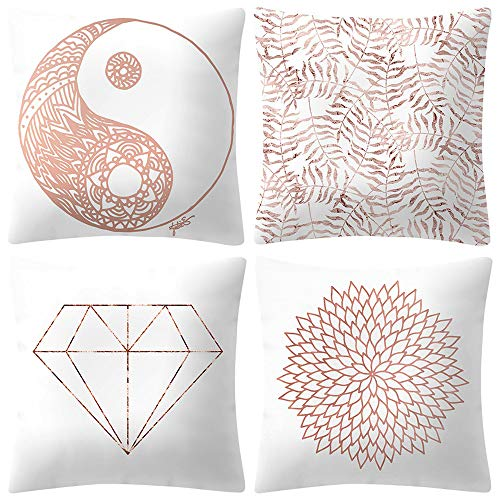 Xuthuly 4Pcs Rose Gold Pink Kissenbezug Platz Kissenbezug Home Decoration