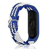 SeNool Correas Compatible con Xiaomi Mi Band 6/Band 5/Band 4 Pulseras Reloj Banda Nailon Trenzada Loop Hebilla Ajustable de Repuesto para Xiaomi Mi Band 6/ Band 5 / Band 4 Azul Blanco