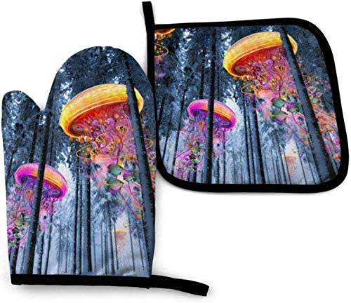 Jellyfish Worlds Oven Mitts and Pot Holders Potholders for Kitchens BBQ Silicone Cooking Gloves product image