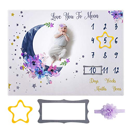 Firares Soft Flannel Fabric Baby Monthly Milestone Blanket Boy and Girl, Unisex Month Blanket for Newborn Baby Shower, Baby Milestone Monthly Blanket with Headdress Flower, Five-Star Rectangle Frame