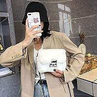 AATTフェイクラビットファーバッグ女性 2020 チェーンクロスボディバッグショルダーバッグハンドバッグ財布ミニブランドデザイナーハンドバッグファッション冬の新 (Beige)